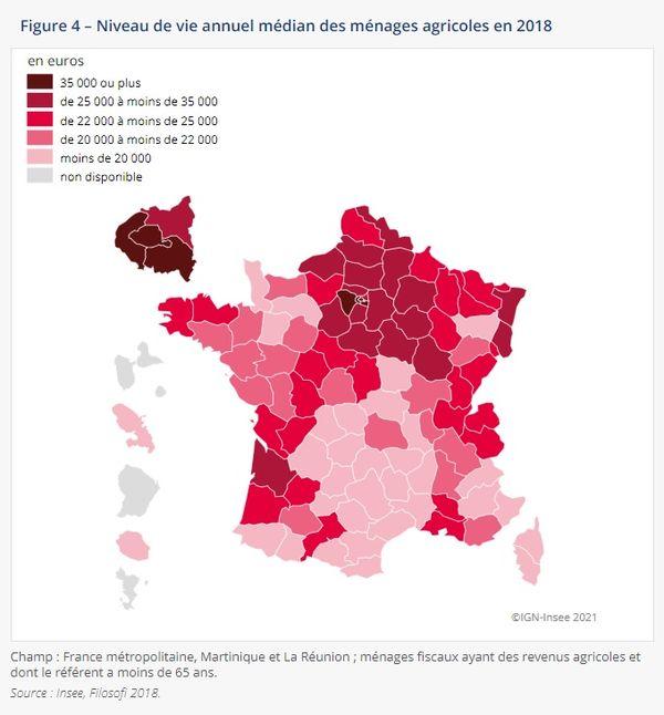 Dans les départements de la Creuse, la Corrèze et la Haute-Vienne, le niveau de vie annuel médian des ménages était inférieur à 20 000€ en 2018.