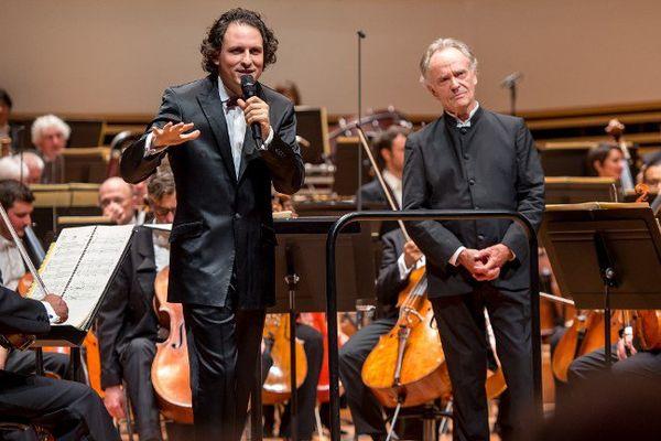 Alexandre Bloch et Jean-Claude Casadesus, ce jeudi soir au Nouveau Siècle.
