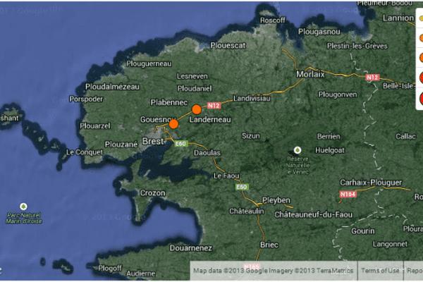 La carte du séisme par le ReNass