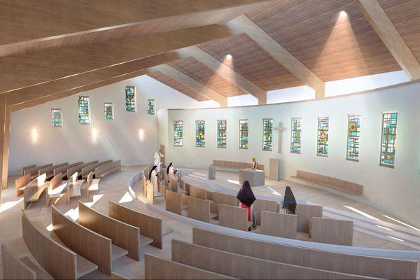 Image de synthèse de la nouvelle chapelle en construction du monastère de l'Annonciade de Thiais (Val-de-Marne).