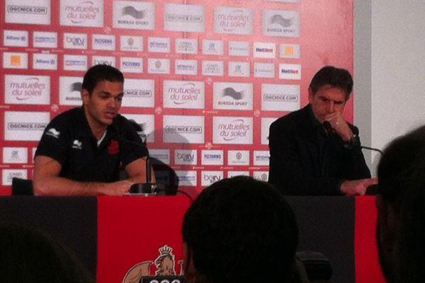 Hatem Ben Arfa et Claude Puel en conférence de presse