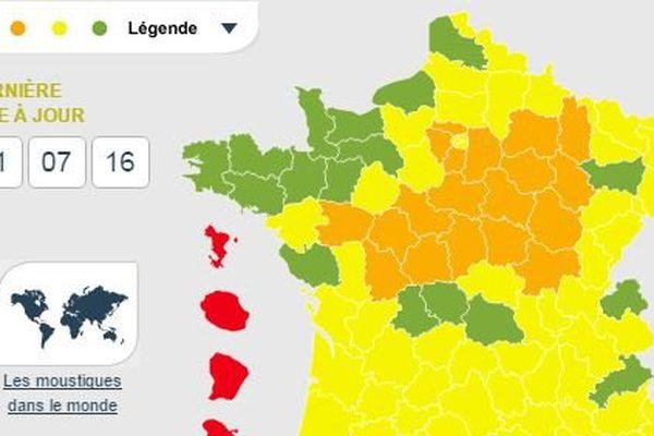 Au 1er juillet, la région Centre-Val de Loire est en vigilance orange aux moustiques
