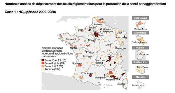 Depuis 19 ans, les seuils réglementaires de dioxyde d'azote enregistrent un dépassement à Toulouse et Montpellier.