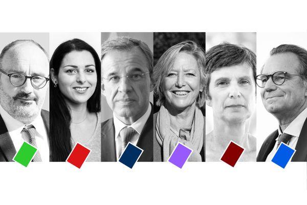 Les tête de liste aux élection régionales 2021 en Provence-Alpes-Côte d'Azur : (de gauche à droite) Jean-Laurent Felizia (EELV), Marina Mesure (LFI), Thierry Mariani (RN), Sophie Cluzel (LREM), Isabelle Bonnet (LO), Renaud Muselier (LR).