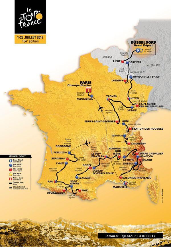 Carte de Tour de France 2017, la grande boucle ignore superbement l'ouest de la France !