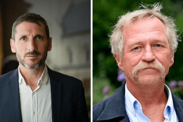 Le député de Maine-et-Loire Matthieu Orphelin (gauche) et l'eurodéputé José Bové (EELV), opposants au nouvel aéroport, estiment qu'un projet autour de l'agriculture durable et de la biodiversité pourrait mener à une évacuation sans violences du site de Notre-Dame-des-Landes.