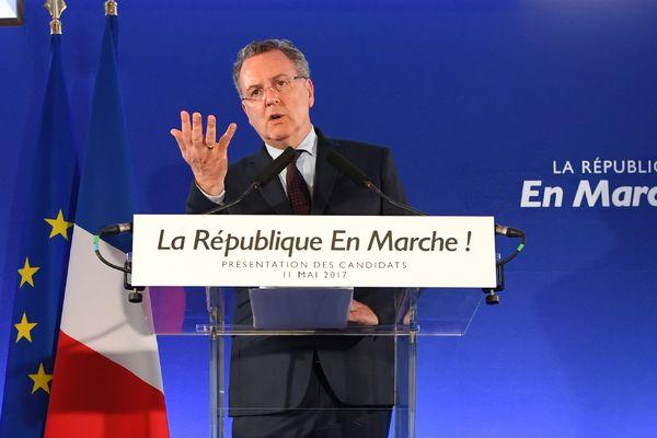"""Richard Ferrand, secrétaire général du mouvement """"La Republique en marche"""" lors de la conférence de presse d'annonce des premières candidatures pour les législatives 2017, jeudi 11 mai 2017 à Paris."""