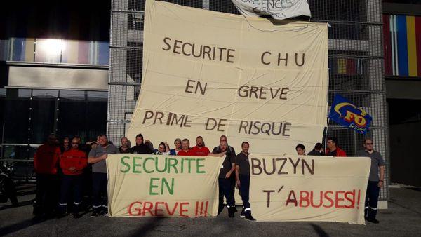 Les agents de sécurité des biens et personnes et les agents de sécurité incendie des hôpitaux de Toulouse en grève.