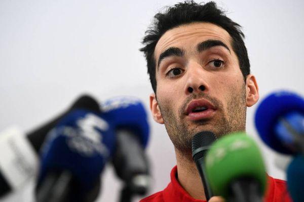 Le biathlète français Martin Fourcade donne une conférence de presse à Pyeongchang