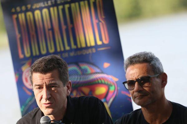 Matthieu Pigasse et Jean-Paul Roland lors de la conférence de presse de la 31e édition du festival des Eurockéennes de Belfort.