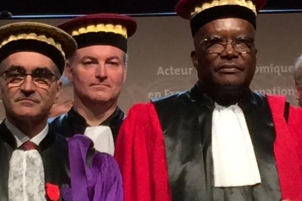 Alain Bonnin, le président de l'université de Bourgogne et Roch Marc Christian Kaboré, le président du Burkina Faso