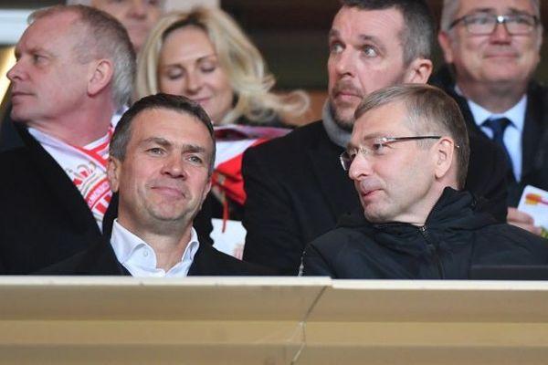 Le possible vice-président Oleg Petrov à coté de Dmitri Rybolovlev, président du club de football de l'AS Moncao en février 2019.