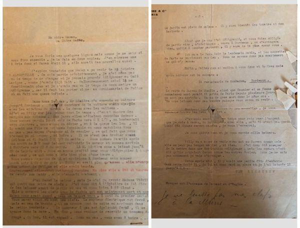 Lettre envoyée par Mathilde Bravery à sa soeur en mai 1940 après avoir rejoint Bordeaux avec sa fille.