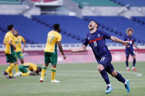 Tokyo (Japon) - le joueur de Montpellier heureux d'avoir marqué un but contre l'Afrique du Sud - 25 juillet 2021.
