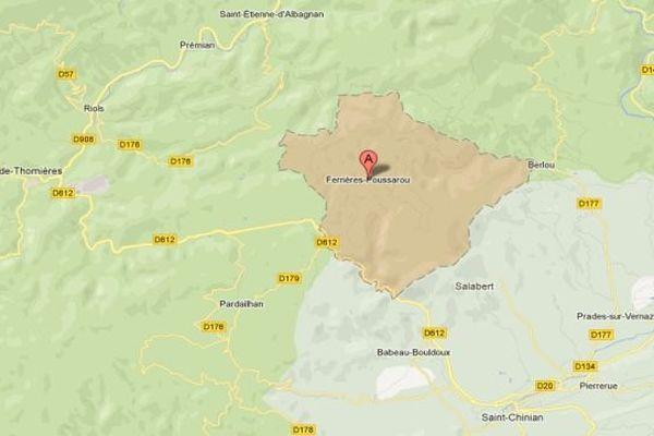 Carte Google Ferrières-Poussarou (Hérault)