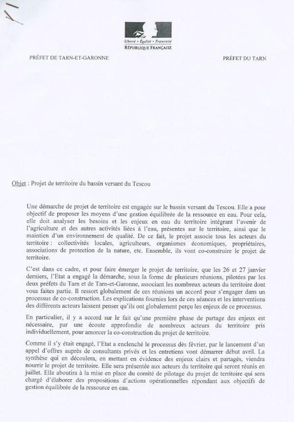 L'ensemble des acteurs du dossier ont reçu cette lettre leur indiquant la méthode et le calendrier du projet territorial.