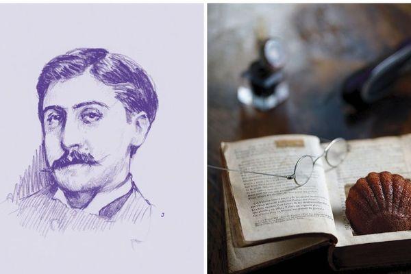A gauche, un dessin créé pour le Printemps Proustien. A droite, la fameuse madeleine de Proust.