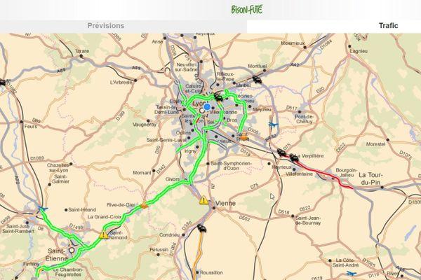 le trafic en temps réel illustré sur le site de Bison Futé