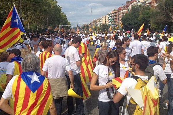Barcelone (Espagne) - le cortège s'organise avant le départ de la manifestation - 11 septembre 2015.