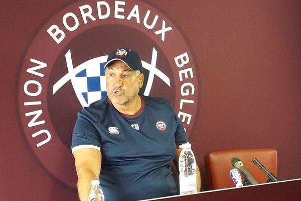 Christophe Urios (coach UBB) lors de sa conférence de presse de rentrée.  01/07/2019