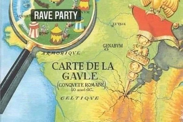 """La carte de la Gaule d'Astérix et Obélix a été modifiée en Ille-et-Vilaine, où est indiquée """"rave party"""" en référence à la fête clandestine du 31 décembre dernier à Lieuron."""