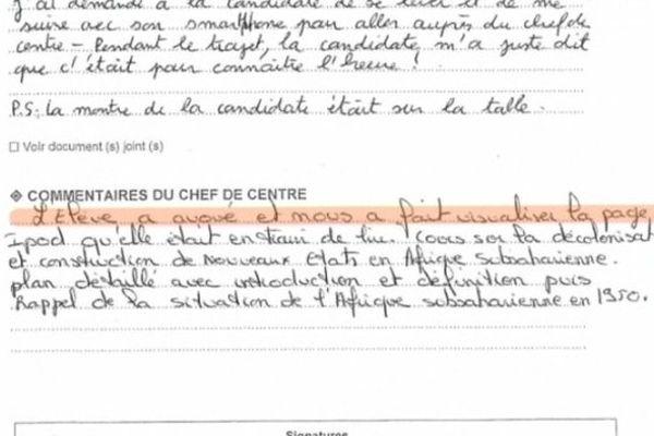 La copie du rapport envoyé aux rédactions de Charente.