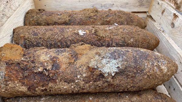 Les obus découverts dans un champs à Levergies dans l'Aisne