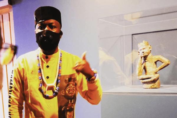 Une photo du militant Emery Mwazulu Diyabanza au musée d'Anvers (Belgique) postée sur son compte Instagram le 10 octobre 2020.