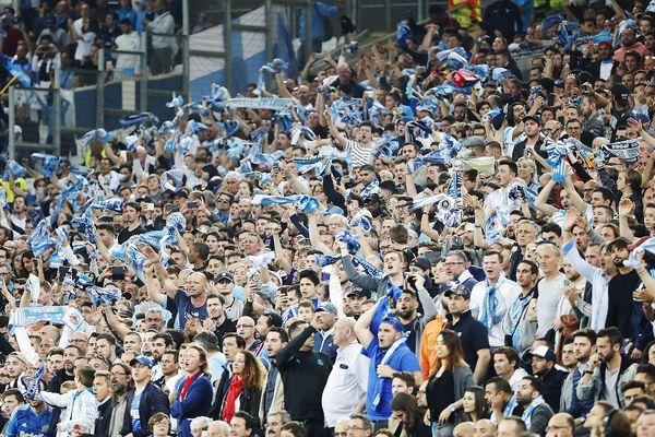 Les supporters olympiens pour le match aller des demies-finales de la Ligue Europa opposant l'OM au Red Bull Salzbourg le 26 avril dernier.