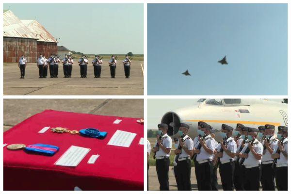 La cérémonie de dissolution de l'ex-base aérienne de Châteaudun s'est composée de la remise de décorations, de la revue des troupes et d'un défilé aérien avec le passage de Rafales.