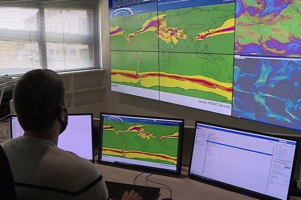 Prédict, filiale privée de Météo-France, opère une veille internationale de la météo à partir du Millénaire à Montpellier.