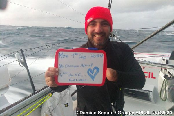 C'est la première fois que Damien Seguin passe la Cap Horn, de quoi être fier !