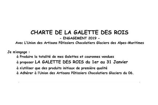 La charte de la galette des rois par l'Union des Artisans Pâtissiers Chocolatiers Glaciers des Alpes-Maritimes