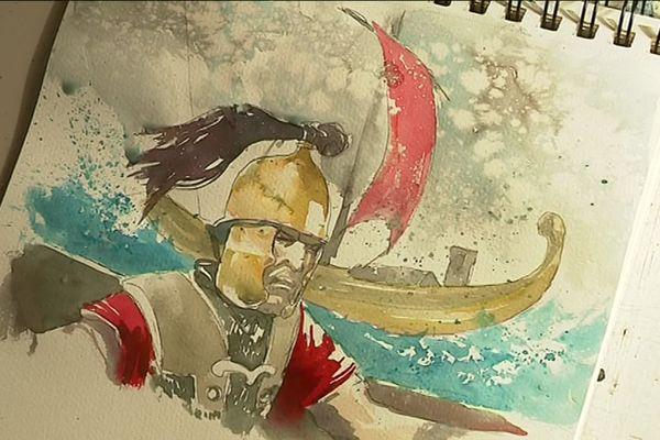 """Illustration d'un romain par Vincent Pompetti, dessinateur de """"La Guerre des Gaules"""""""