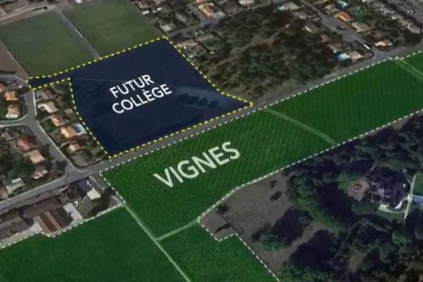 Le collège sera situé juste en face des vignes