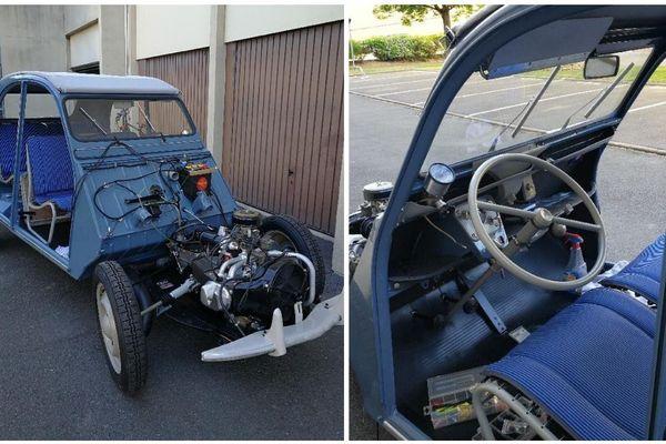 Eric Toutin estime qu'il faut 9 mois de travail pour rénover cette Citroën 2CV de 1959.