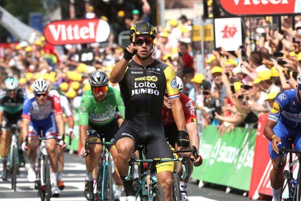 Dylan Groenewegen, vainqueur de la huitième étape du Tour de France, le 14 juillet 2018 à Amiens.