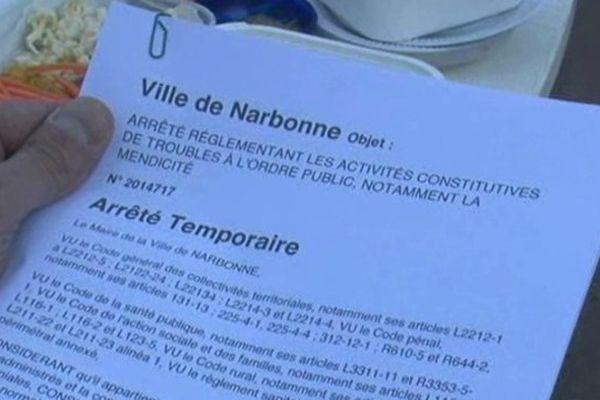 arrêté anti-mendicité de Narbonne