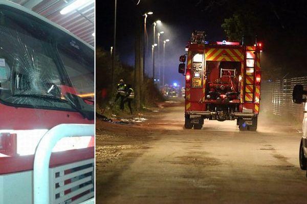 A gauche, une photo du fourgon caillassé prise par le syndicat Sud. Une intervention de pompiers dans la Jungle (archives)