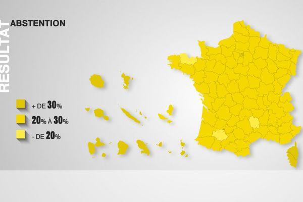 Abstention par département au second tour de l'élection présidentielle 2017.