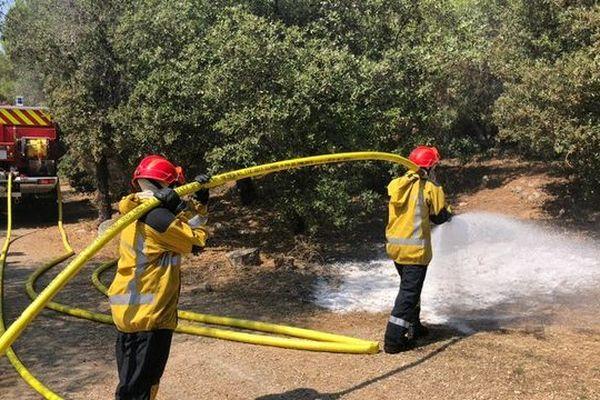 Les sapeurs-pompiers ont combattu ce départ de feu avec les lances à incendie.