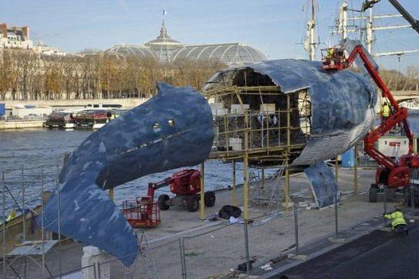 Photographiée le 28 novembre 2015, la baleine bleue prend forme sur les quais de Seine parisiens.