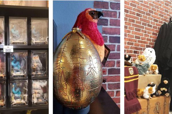 """Des """"animaux fantastiques"""" attendent à côté de robes de sorcellerie prêtes à l'emploi."""