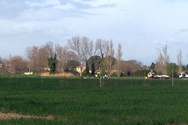 Corneilla-del-Vercol (Pyrénées-Orientales) - le lieu du crash de l'avion - 27 février 2020.