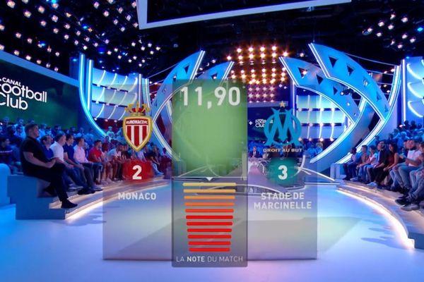 """Si le logo est bien celui de l'OM, le nom de club en revanche est erroné: les téléspectateurs pouvaient lire """"Stade de Marcinelle"""" à la place d'Olympique de Marseille."""