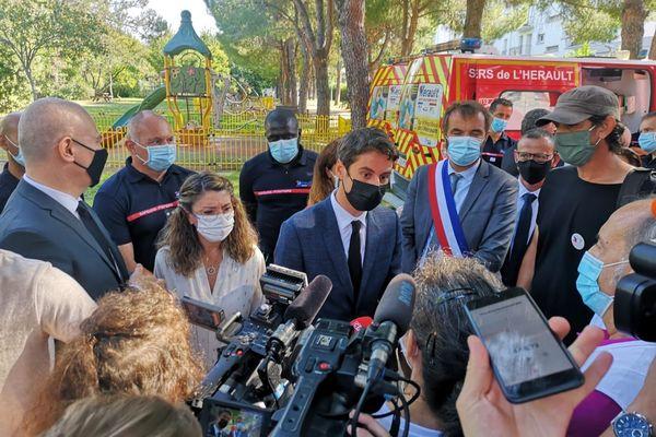 Montpellier : le porte-parole du gouvernement Gabriel Attal en visite - 29 juillet 2021.