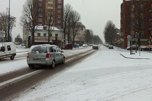 La rive gauche de Rouen un jour de niege