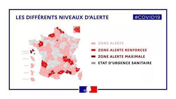 69 territoires sont classé en zone d'alerte par le gouvernement.
