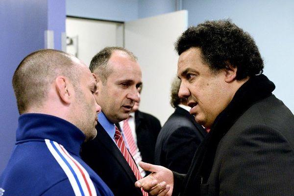 """Serge Blanco va """"épauler"""" Philippe Saint-André et ses adjoints (ici Yannick Bru) à la tête du XV de France pour """"tout reconstruire"""""""