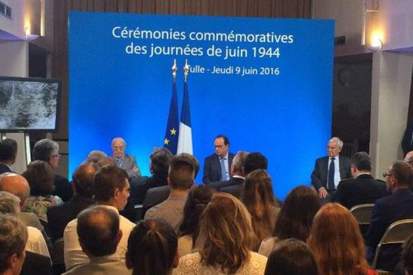 François Hollande assiste aux 72ème commémorations des pendus de Tulle